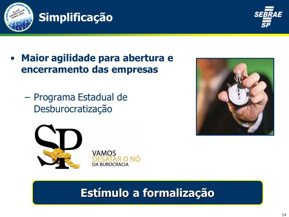 14 Simplificação Maior agilidade para abertura e encerramento das empresas –Programa Estadual de Desburocratização Estímulo a formalização