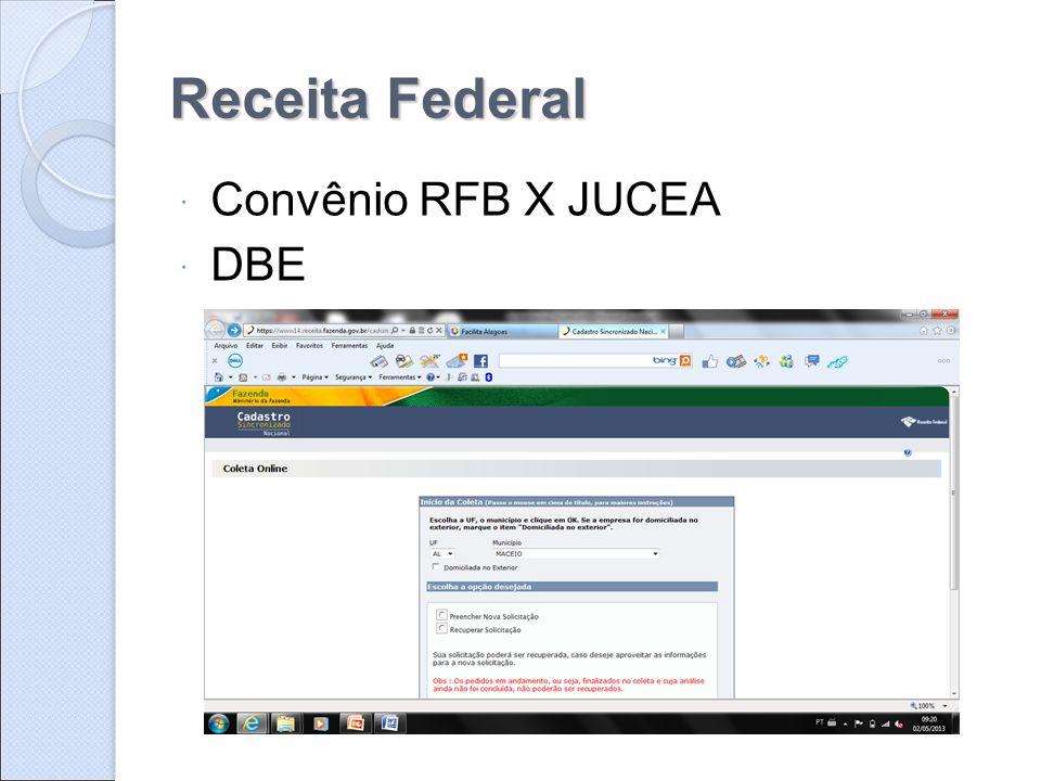 Receita Federal  Convênio RFB X JUCEA  DBE
