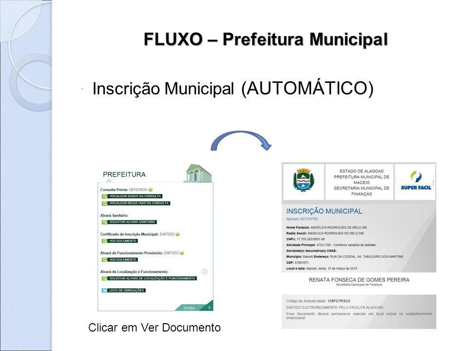 FLUXO – Prefeitura Municipal  Inscrição Municipal (AUTOMÁTICO) Clicar em Ver Documento