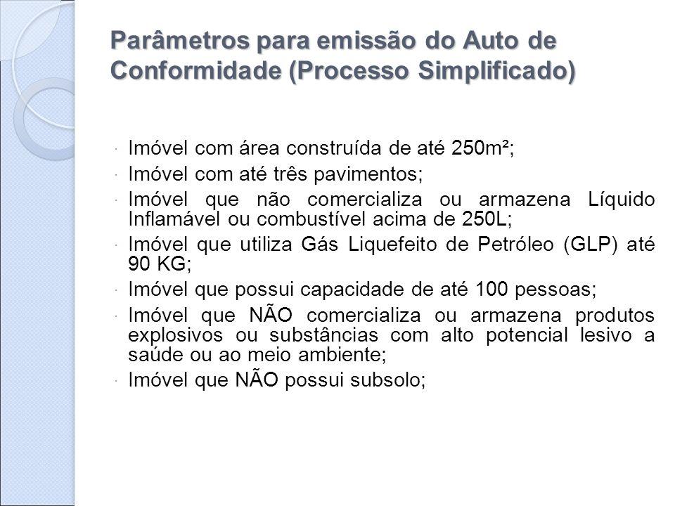 Parâmetros para emissão do Auto de Conformidade (Processo Simplificado)  Imóvel com área construída de até 250m²;  Imóvel com até três pavimentos; 