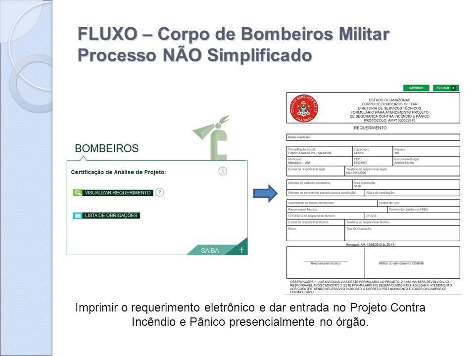 FLUXO – Corpo de Bombeiros Militar Processo NÃO Simplificado Imprimir o requerimento eletrônico e dar entrada no Projeto Contra Incêndio e Pânico pres