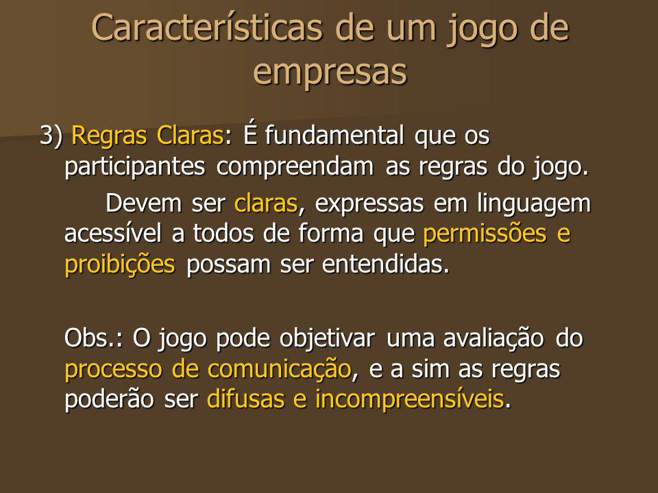 Características de um jogo de empresas 3) Regras Claras: É fundamental que os participantes compreendam as regras do jogo. Devem ser claras, expressas