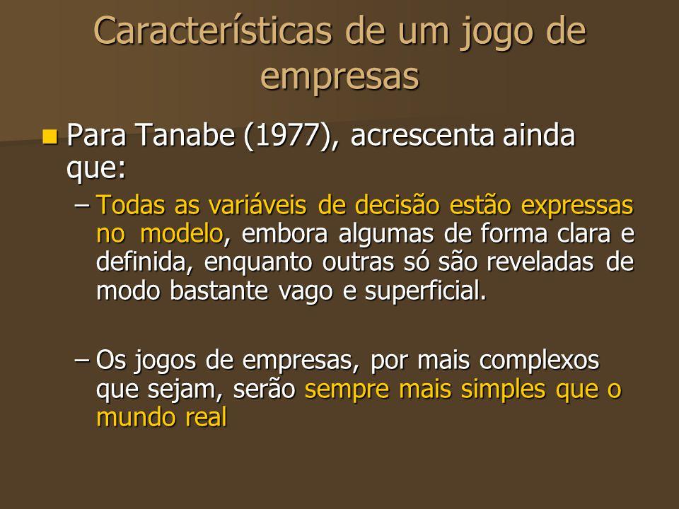 Características de um jogo de empresas Para Tanabe (1977), acrescenta ainda que: Para Tanabe (1977), acrescenta ainda que: –Todas as variáveis de deci