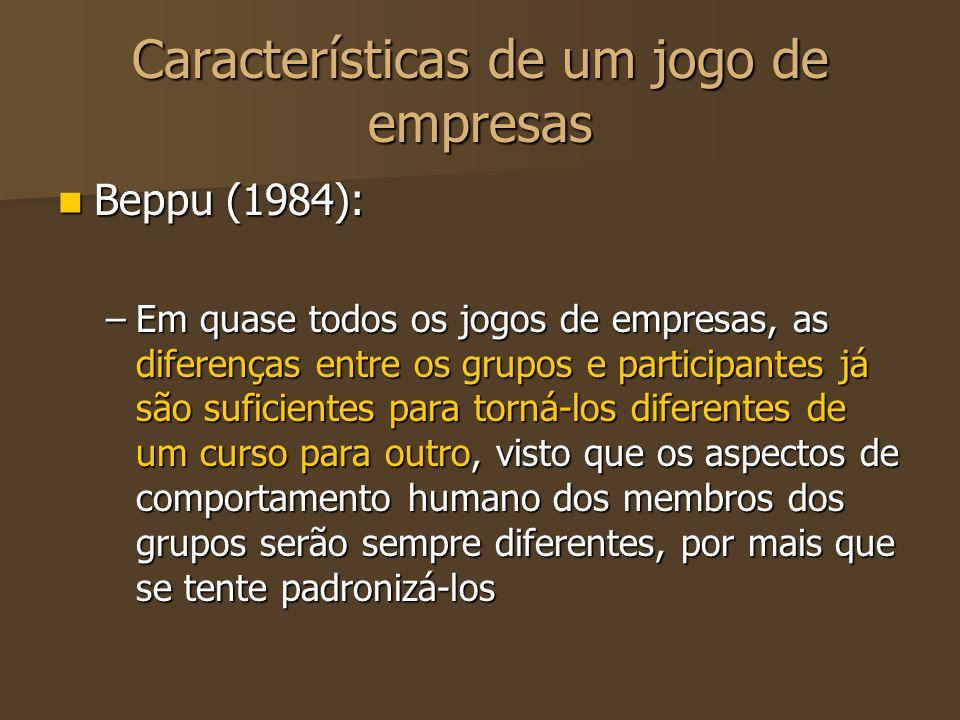 Características de um jogo de empresas Beppu (1984): Beppu (1984): –Em quase todos os jogos de empresas, as diferenças entre os grupos e participantes