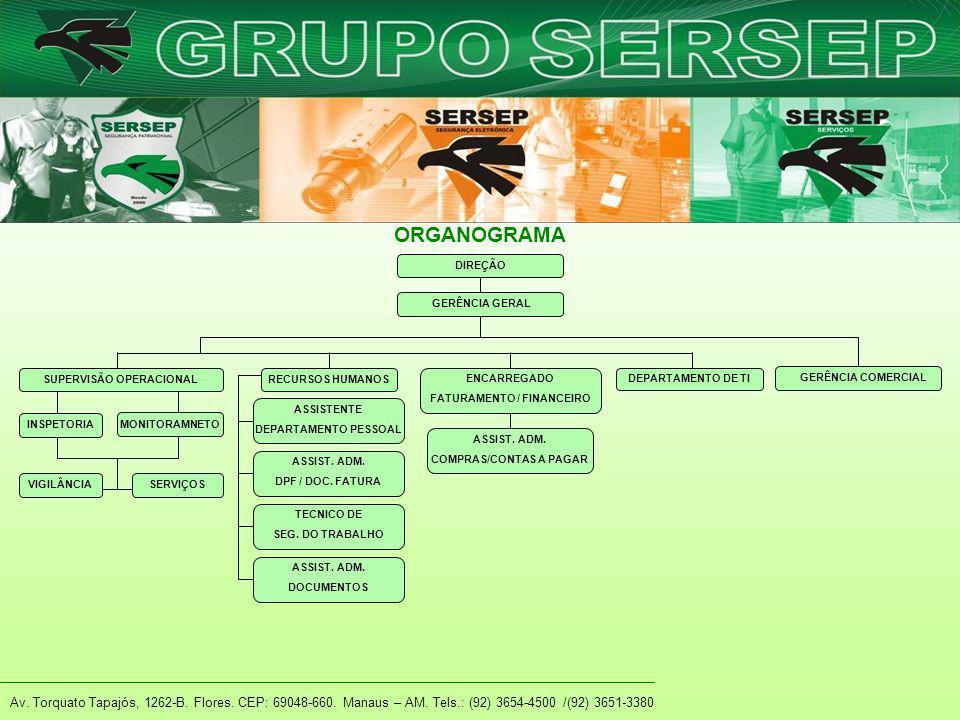 Av. Torquato Tapajós, 1262-B. Flores. CEP: 69048-660. Manaus – AM. Tels.: (92) 3654-4500 /(92) 3651-3380 ORGANOGRAMA DIREÇÃO GERÊNCIA GERAL SUPERVISÃO