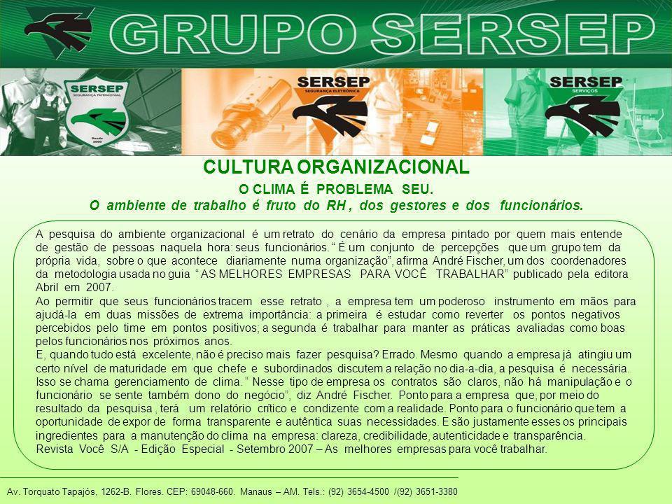Av. Torquato Tapajós, 1262-B. Flores. CEP: 69048-660. Manaus – AM. Tels.: (92) 3654-4500 /(92) 3651-3380 CULTURA ORGANIZACIONAL A pesquisa do ambiente