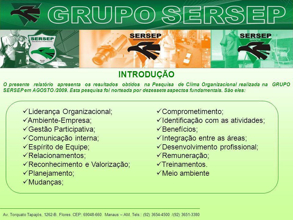 Av. Torquato Tapajós, 1262-B. Flores. CEP: 69048-660. Manaus – AM. Tels.: (92) 3654-4500 /(92) 3651-3380 INTRODUÇÃO Liderança Organizacional; Ambiente