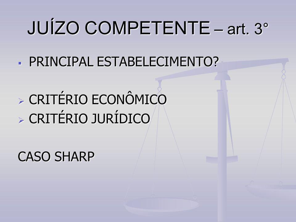 JUÍZO COMPETENTE – art. 3° PPPPRINCIPAL ESTABELECIMENTO? CCCCRITÉRIO ECONÔMICO CCCCRITÉRIO JURÍDICO CASO SHARP