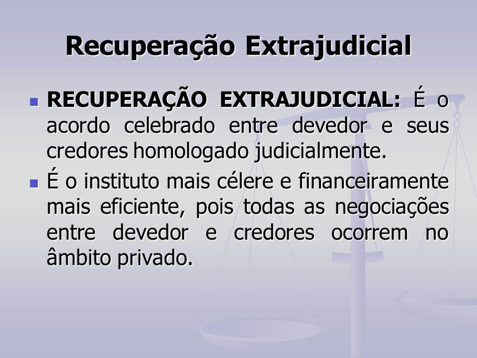 Recuperação Extrajudicial RECUPERAÇÃO EXTRAJUDICIAL: É o acordo celebrado entre devedor e seus credores homologado judicialmente. RECUPERAÇÃO EXTRAJUD