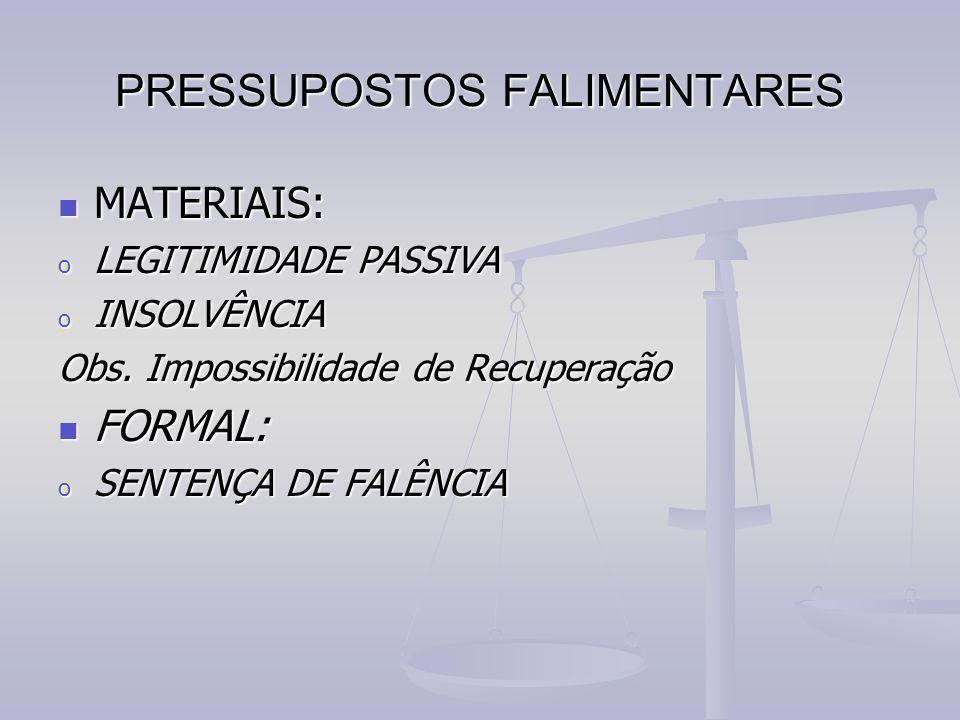 PRESSUPOSTOS FALIMENTARES MATERIAIS: MATERIAIS: o LEGITIMIDADE PASSIVA o INSOLVÊNCIA Obs. Impossibilidade de Recuperação FORMAL: FORMAL: o SENTENÇA DE