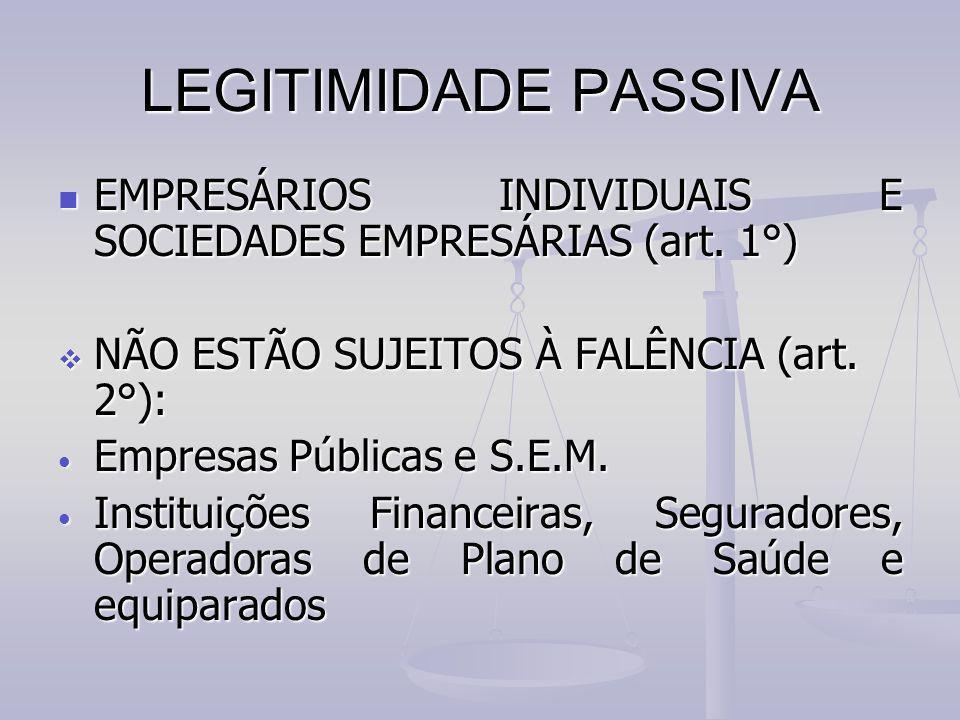 LEGITIMIDADE PASSIVA EMPRESÁRIOS INDIVIDUAIS E SOCIEDADES EMPRESÁRIAS (art. 1°) EMPRESÁRIOS INDIVIDUAIS E SOCIEDADES EMPRESÁRIAS (art. 1°)  NÃO ESTÃO