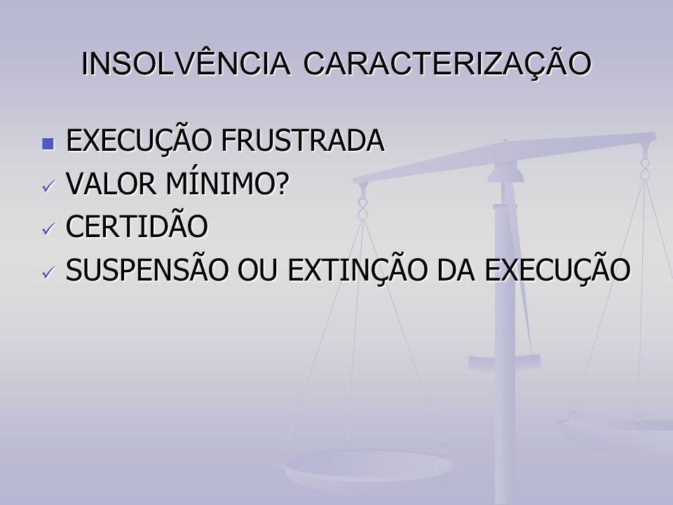 INSOLVÊNCIA CARACTERIZAÇÃO EXECUÇÃO FRUSTRADA EXECUÇÃO FRUSTRADA VALOR MÍNIMO? VALOR MÍNIMO? CERTIDÃO CERTIDÃO SUSPENSÃO OU EXTINÇÃO DA EXECUÇÃO SUSPE