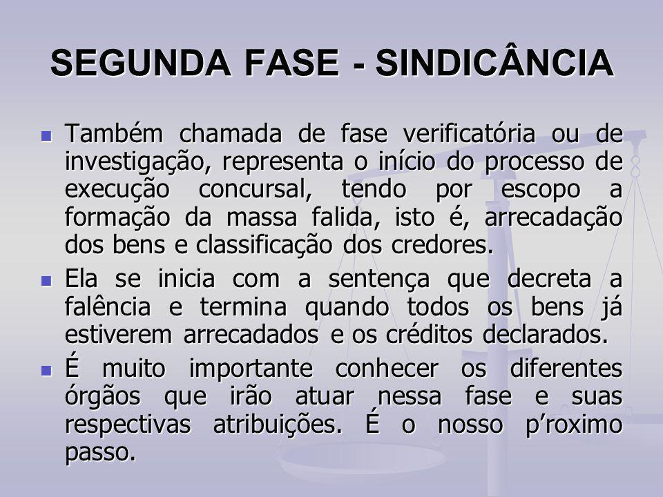 SEGUNDA FASE - SINDICÂNCIA Também chamada de fase verificatória ou de investigação, representa o início do processo de execução concursal, tendo por e
