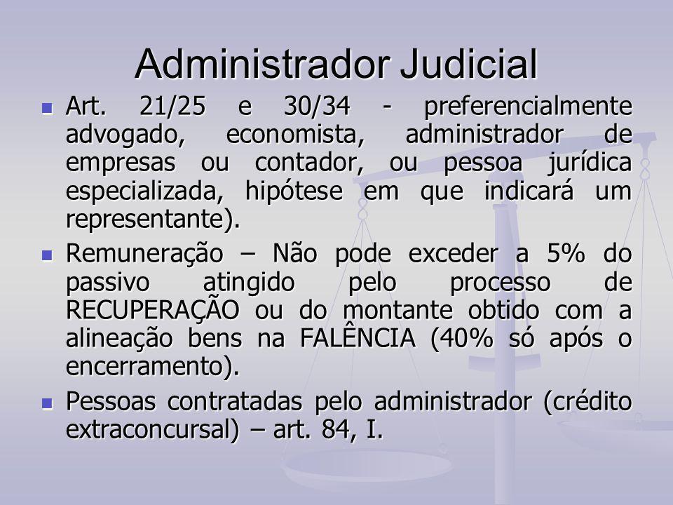 Administrador Judicial Art. 21/25 e 30/34 - preferencialmente advogado, economista, administrador de empresas ou contador, ou pessoa jurídica especial