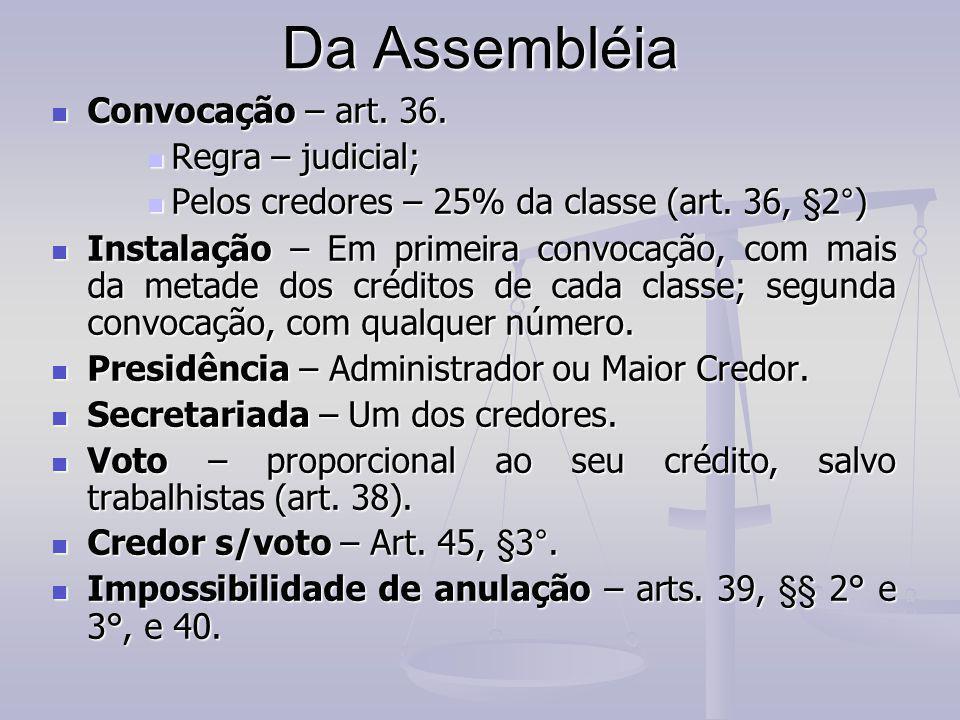Da Assembléia Convocação – art. 36. Convocação – art. 36. Regra – judicial; Regra – judicial; Pelos credores – 25% da classe (art. 36, §2°) Pelos cred