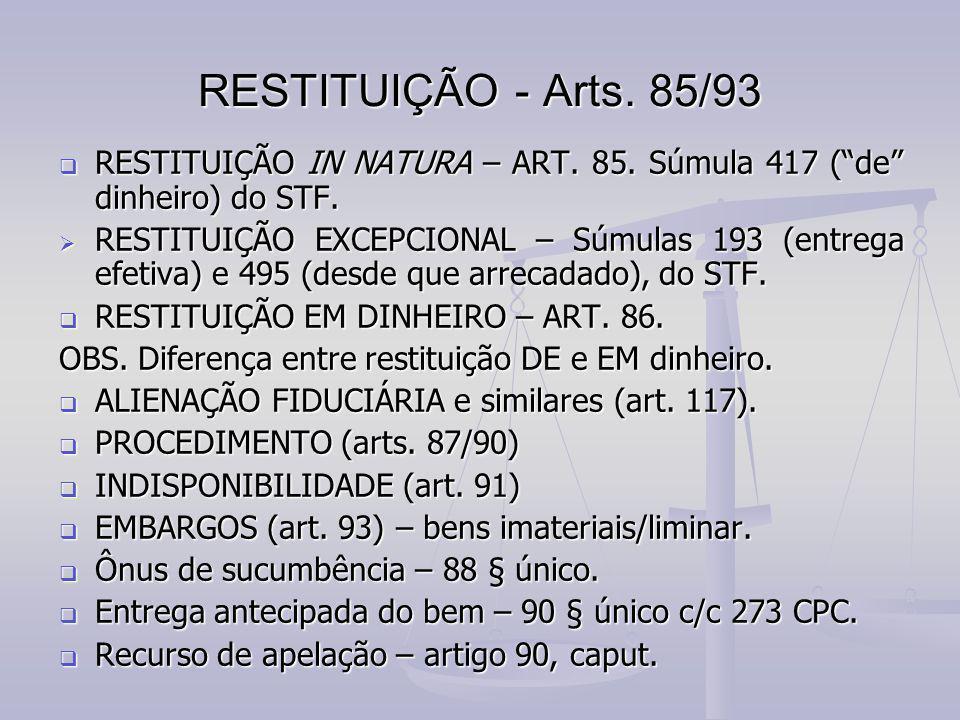 """RESTITUIÇÃO - Arts. 85/93  RESTITUIÇÃO IN NATURA – ART. 85. Súmula 417 (""""de"""" dinheiro) do STF.  RESTITUIÇÃO EXCEPCIONAL – Súmulas 193 (entrega efeti"""