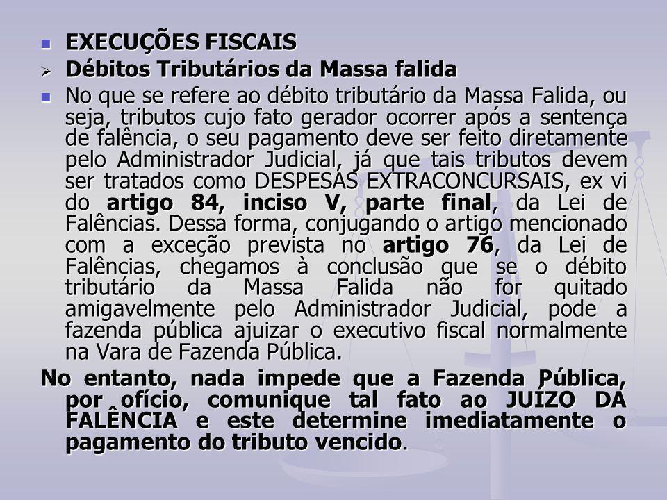 EXECUÇÕES FISCAIS EXECUÇÕES FISCAIS  Débitos Tributários da Massa falida No que se refere ao débito tributário da Massa Falida, ou seja, tributos cuj