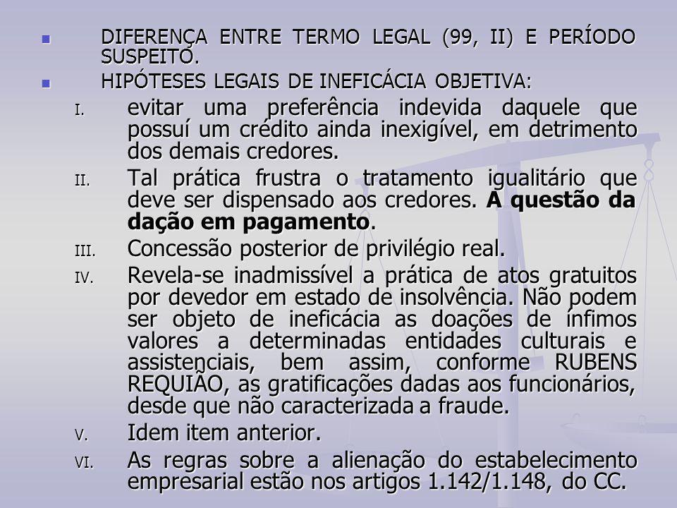 DIFERENÇA ENTRE TERMO LEGAL (99, II) E PERÍODO SUSPEITO. DIFERENÇA ENTRE TERMO LEGAL (99, II) E PERÍODO SUSPEITO. HIPÓTESES LEGAIS DE INEFICÁCIA OBJET