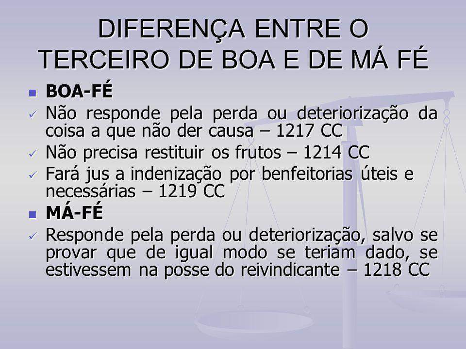 DIFERENÇA ENTRE O TERCEIRO DE BOA E DE MÁ FÉ BOA-FÉ BOA-FÉ Não responde pela perda ou deteriorização da coisa a que não der causa – 1217 CC Não respon