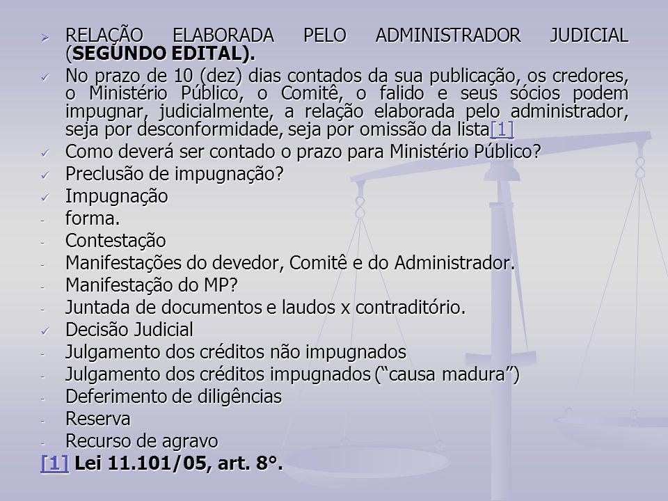  RELAÇÃO ELABORADA PELO ADMINISTRADOR JUDICIAL (SEGUNDO EDITAL). No prazo de 10 (dez) dias contados da sua publicação, os credores, o Ministério Públ