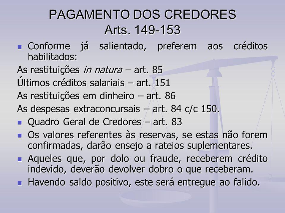 PAGAMENTO DOS CREDORES Arts. 149-153 Conforme já salientado, preferem aos créditos habilitados: Conforme já salientado, preferem aos créditos habilita