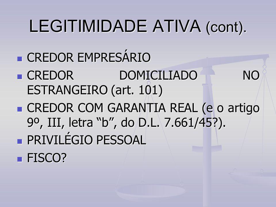 LEGITIMIDADE ATIVA (cont). CREDOR EMPRESÁRIO CREDOR EMPRESÁRIO CREDOR DOMICILIADO NO ESTRANGEIRO (art. 101) CREDOR DOMICILIADO NO ESTRANGEIRO (art. 10