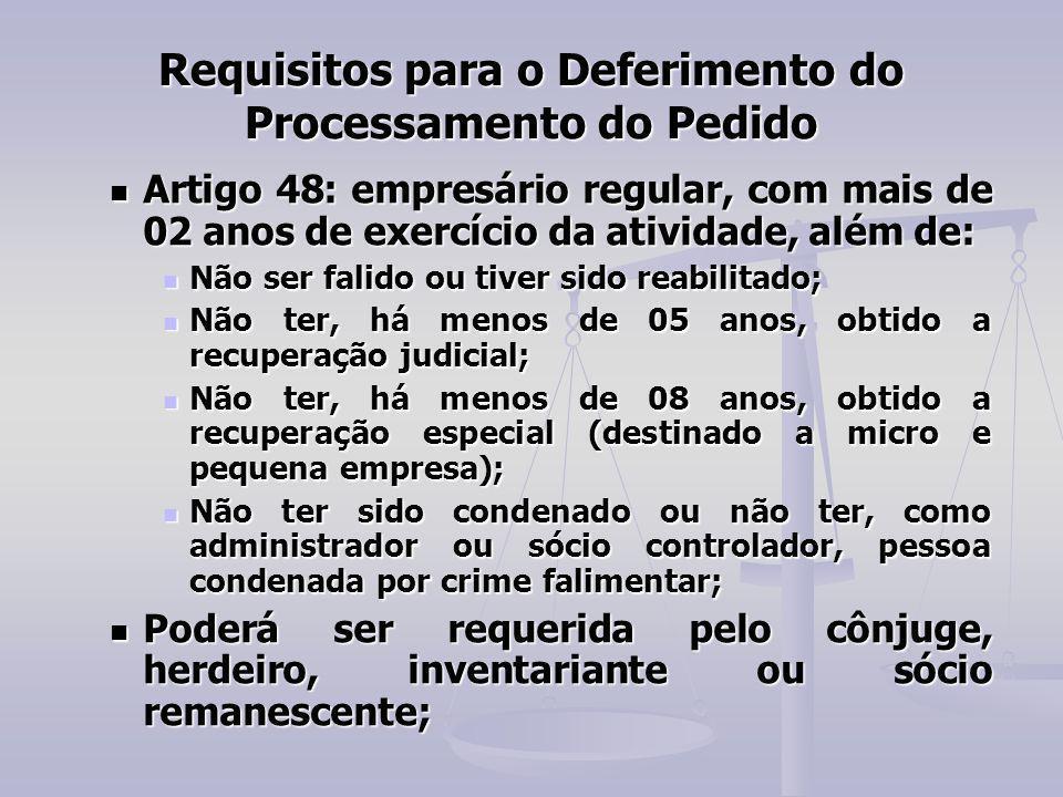 Requisitos para o Deferimento do Processamento do Pedido Artigo 48: empresário regular, com mais de 02 anos de exercício da atividade, além de: Artigo