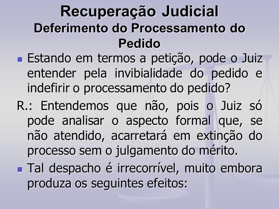 Recuperação Judicial Deferimento do Processamento do Pedido Estando em termos a petição, pode o Juiz entender pela invibialidade do pedido e indefirir