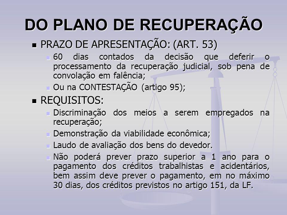 DO PLANO DE RECUPERAÇÃO PRAZO DE APRESENTAÇÃO: (ART. 53) PRAZO DE APRESENTAÇÃO: (ART. 53) 60 dias contados da decisão que deferir o processamento da r