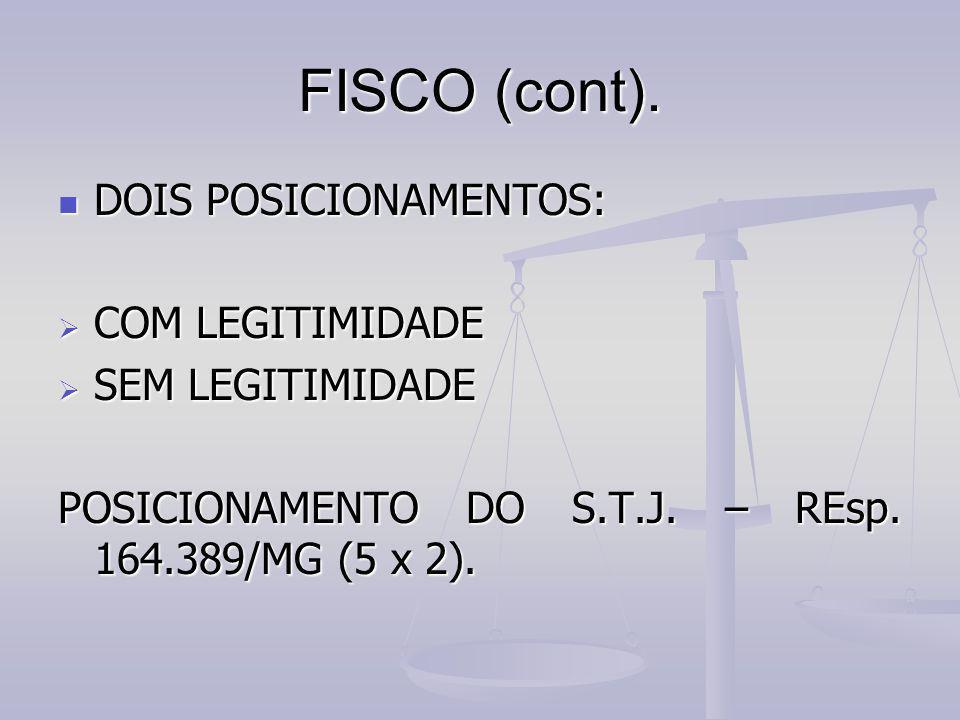 FISCO (cont). DOIS POSICIONAMENTOS: DOIS POSICIONAMENTOS:  COM LEGITIMIDADE  SEM LEGITIMIDADE POSICIONAMENTO DO S.T.J. – REsp. 164.389/MG (5 x 2).