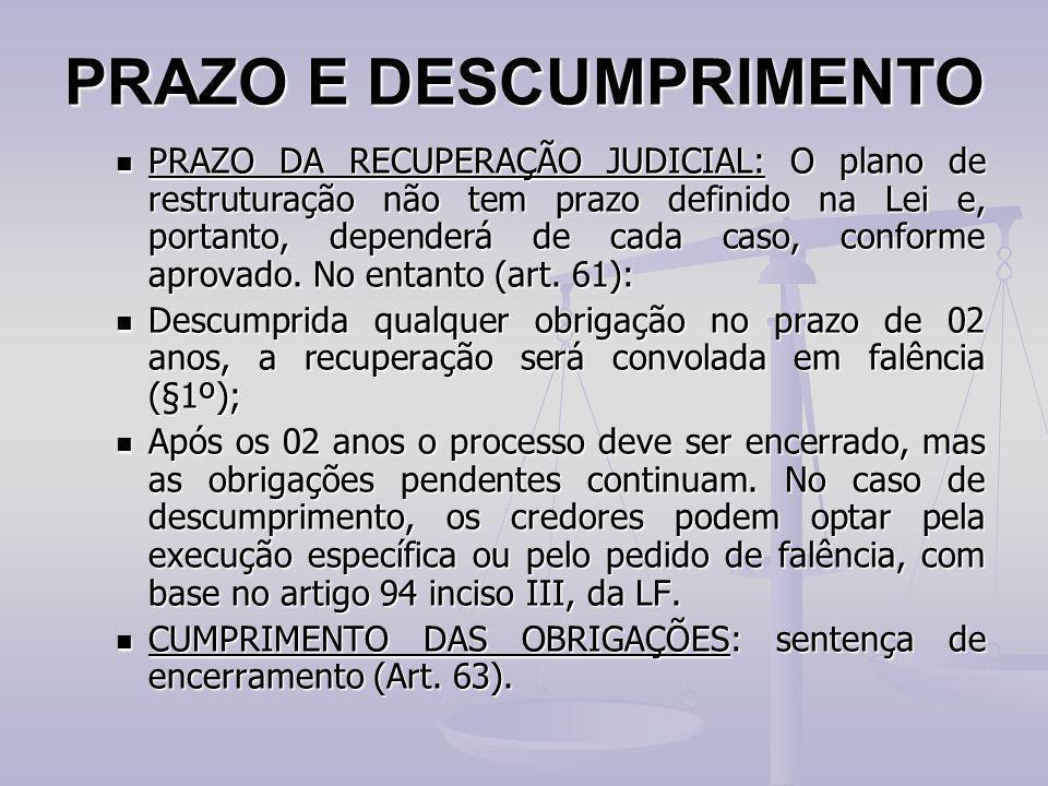 PRAZO E DESCUMPRIMENTO PRAZO DA RECUPERAÇÃO JUDICIAL: O plano de restruturação não tem prazo definido na Lei e, portanto, dependerá de cada caso, conf
