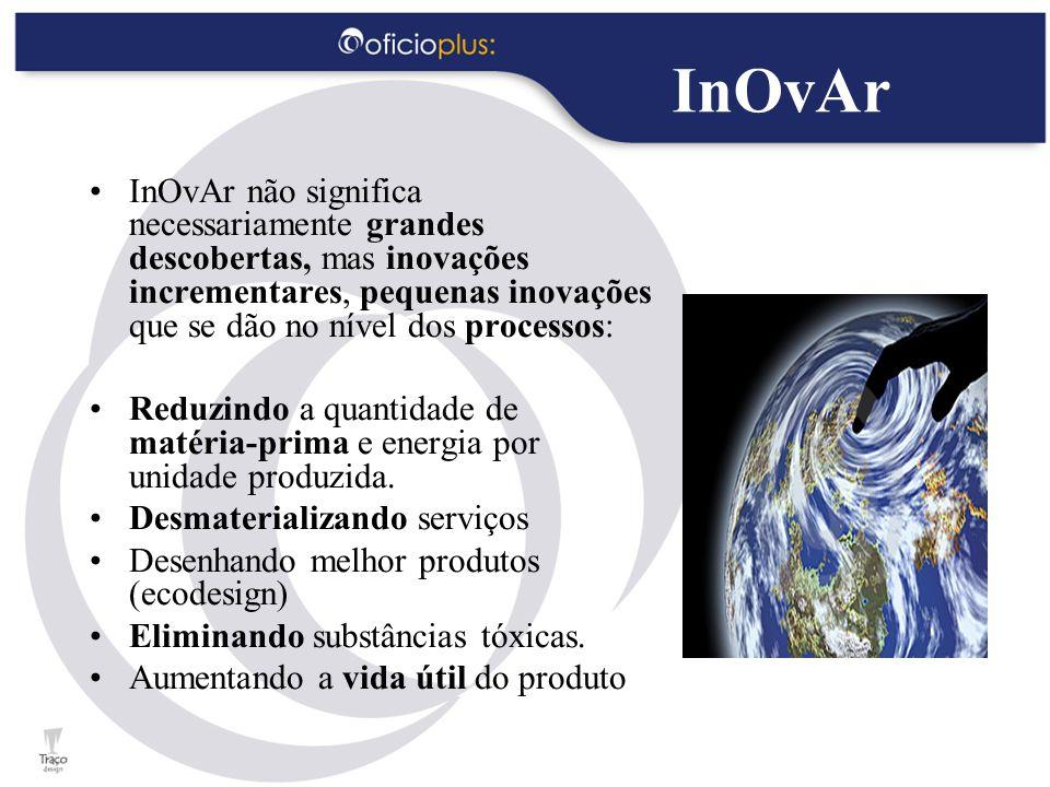 InOvAr InOvAr não significa necessariamente grandes descobertas, mas inovações incrementares, pequenas inovações que se dão no nível dos processos: Reduzindo a quantidade de matéria-prima e energia por unidade produzida.