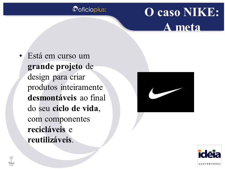 O caso NIKE: A meta Está em curso um grande projeto de design para criar produtos inteiramente desmontáveis ao final do seu ciclo de vida, com compone