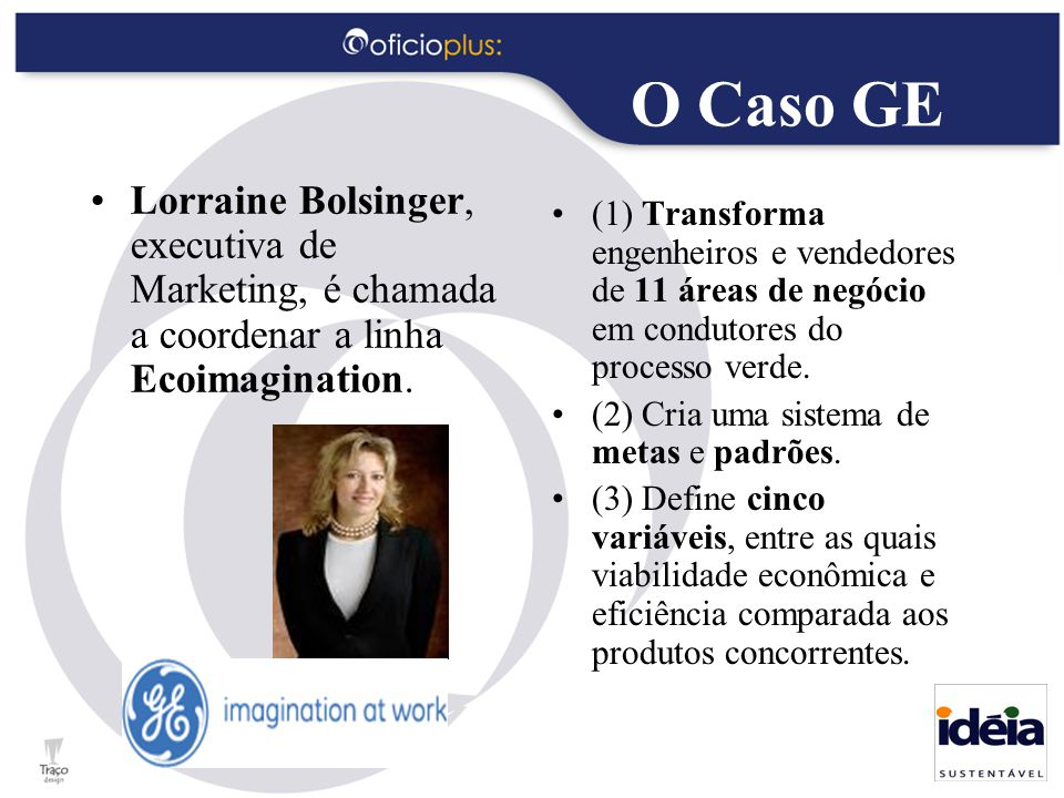 O Caso GE Lorraine Bolsinger, executiva de Marketing, é chamada a coordenar a linha Ecoimagination.