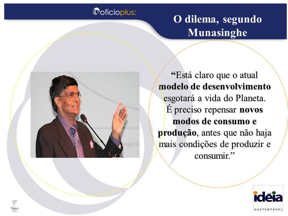 O dilema, segundo Munasinghe Está claro que o atual modelo de desenvolvimento esgotará a vida do Planeta.