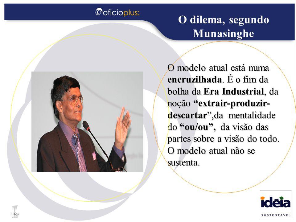 """O dilema, segundo Munasinghe O modelo atual está numa encruzilhada. É o fim da bolha da Era Industrial, da noção """"extrair-produzir- descartar"""",da ment"""