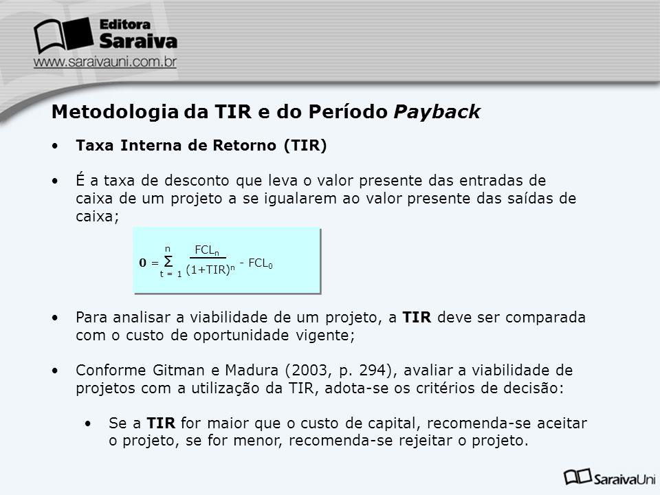 0 = Σ - FCL 0 0 = Σ - FCL 0 Para analisar a viabilidade de um projeto, a TIR deve ser comparada com o custo de oportunidade vigente; Conforme Gitman e