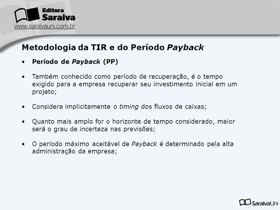 Metodologia da TIR e do Período Payback Período de Payback (PP) Também conhecido como período de recuperação, é o tempo exigido para a empresa recuper