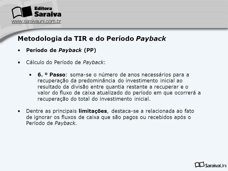 Metodologia da TIR e do Período Payback Período de Payback (PP) Cálculo do Período de Payback: 6. º Passo: soma-se o número de anos necessários para a
