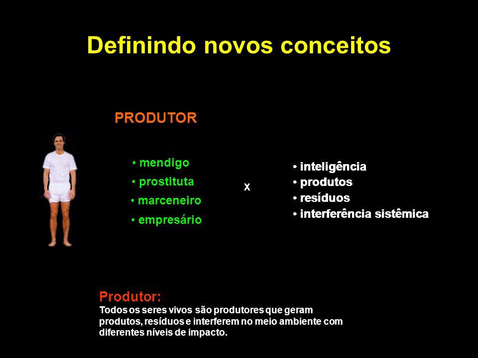 Definindo novos conceitos PRODUTOR X Produtor: Todos os seres vivos são produtores que geram produtos, resíduos e interferem no meio ambiente com dife