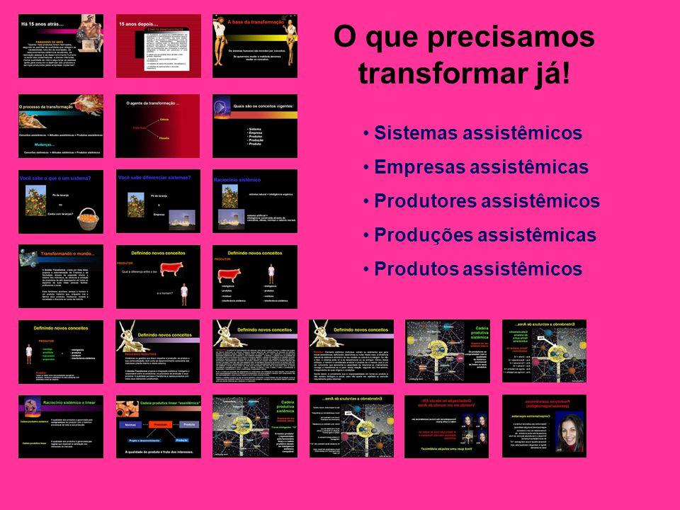 O que precisamos transformar já! Sistemas assistêmicos Empresas assistêmicas Produtores assistêmicos Produções assistêmicas Produtos assistêmicos