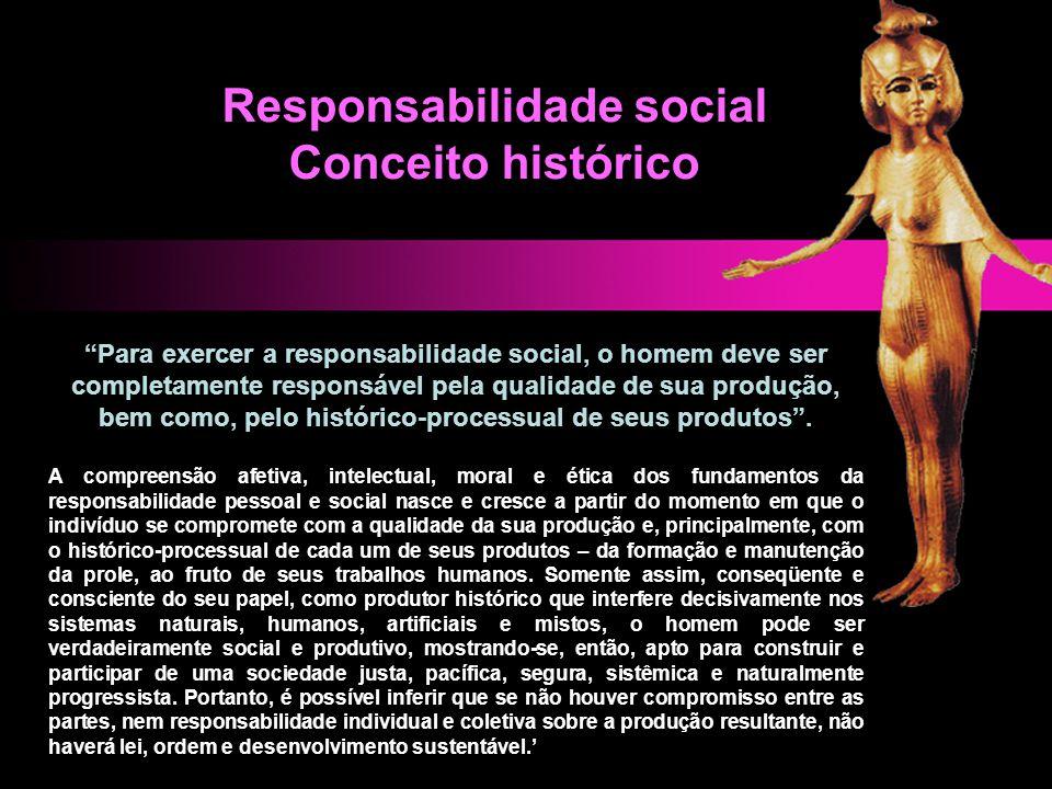 """""""Para exercer a responsabilidade social, o homem deve ser completamente responsável pela qualidade de sua produção, bem como, pelo histórico-processua"""