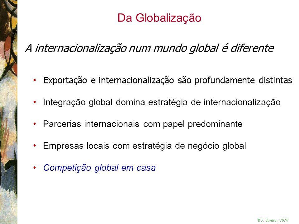 © J. Santos, 2010 Da Globalização A internacionalização num mundo global é diferente Exportação e internacionalização são profundamente distintas Inte