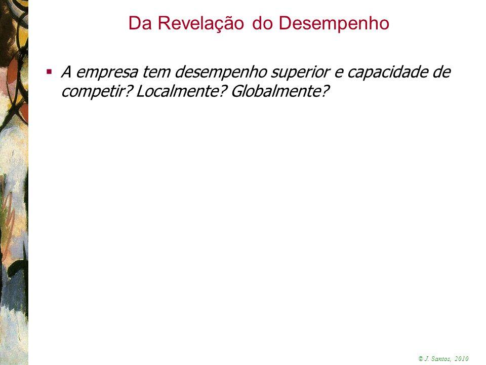 © J. Santos, 2010 Da Revelação do Desempenho  A empresa tem desempenho superior e capacidade de competir? Localmente? Globalmente?