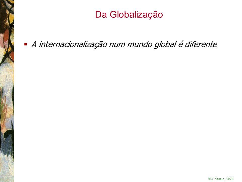 © J. Santos, 2010 Da Globalização  A internacionalização num mundo global é diferente