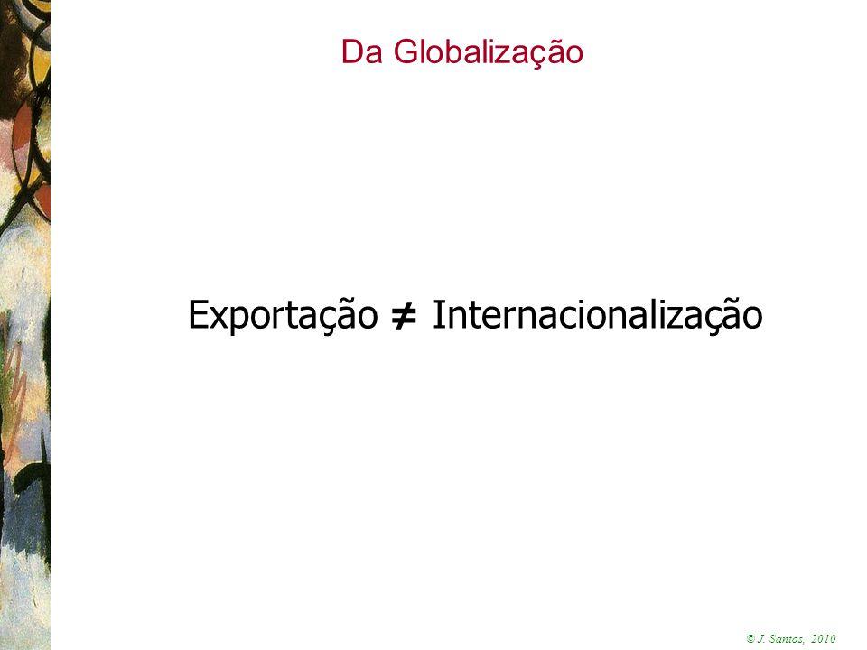 © J. Santos, 2010 Da Globalização Exportação ≠ Internacionalização