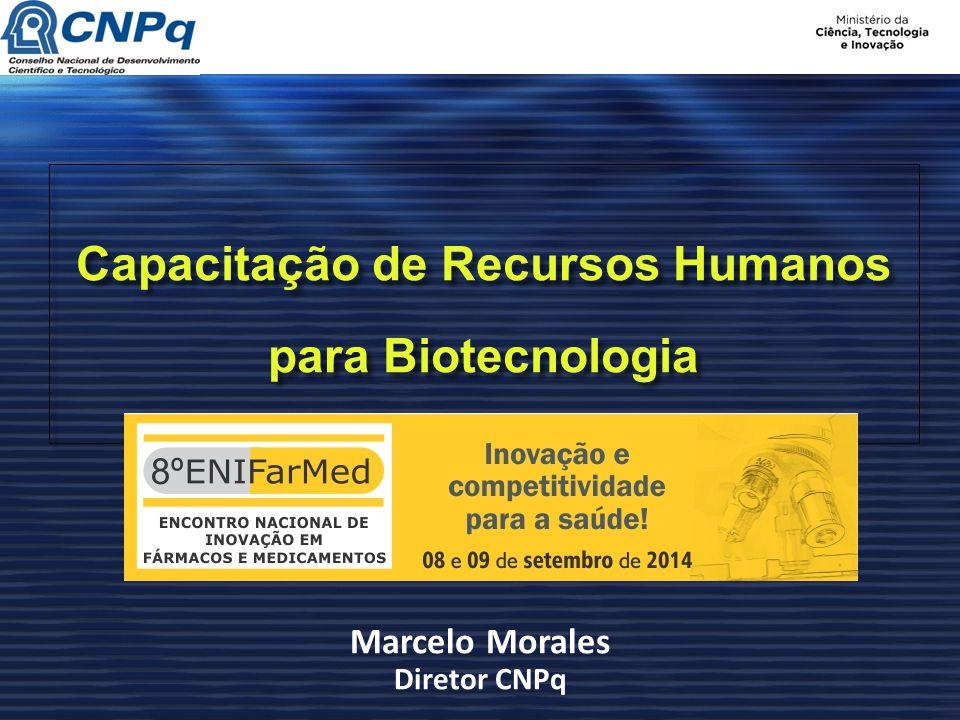 Capacitação de Recursos Humanos para Biotecnologia Marcelo Morales Diretor CNPq