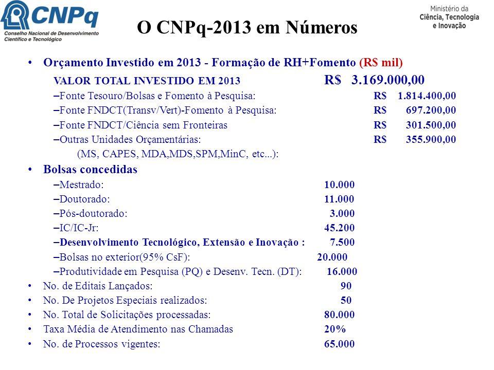 O CNPq-2013 em Números Orçamento Investido em 2013 - Formação de RH+Fomento (R$ mil) VALOR TOTAL INVESTIDO EM 2013 R$ 3.169.000,00 – Fonte Tesouro/Bol