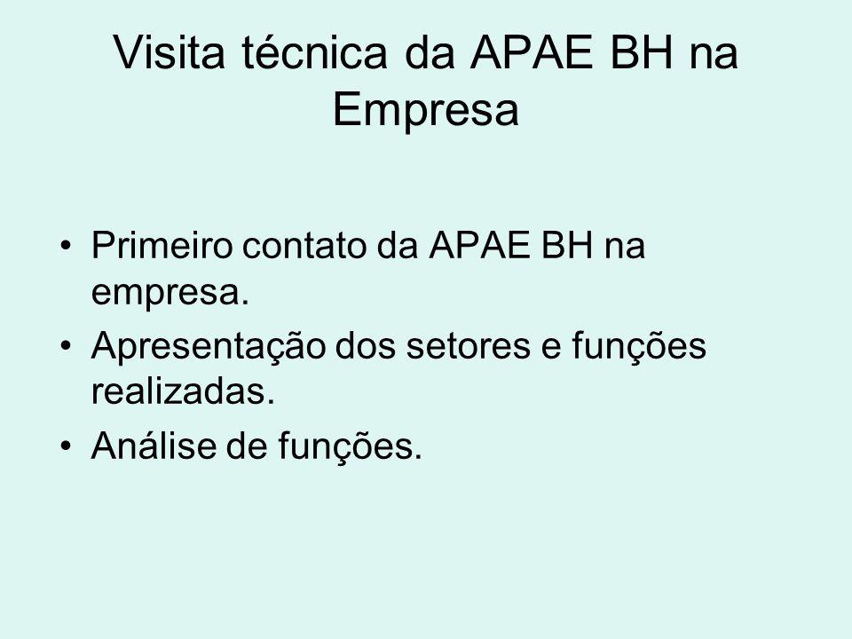 Visita técnica da APAE BH na Empresa Primeiro contato da APAE BH na empresa. Apresentação dos setores e funções realizadas. Análise de funções.