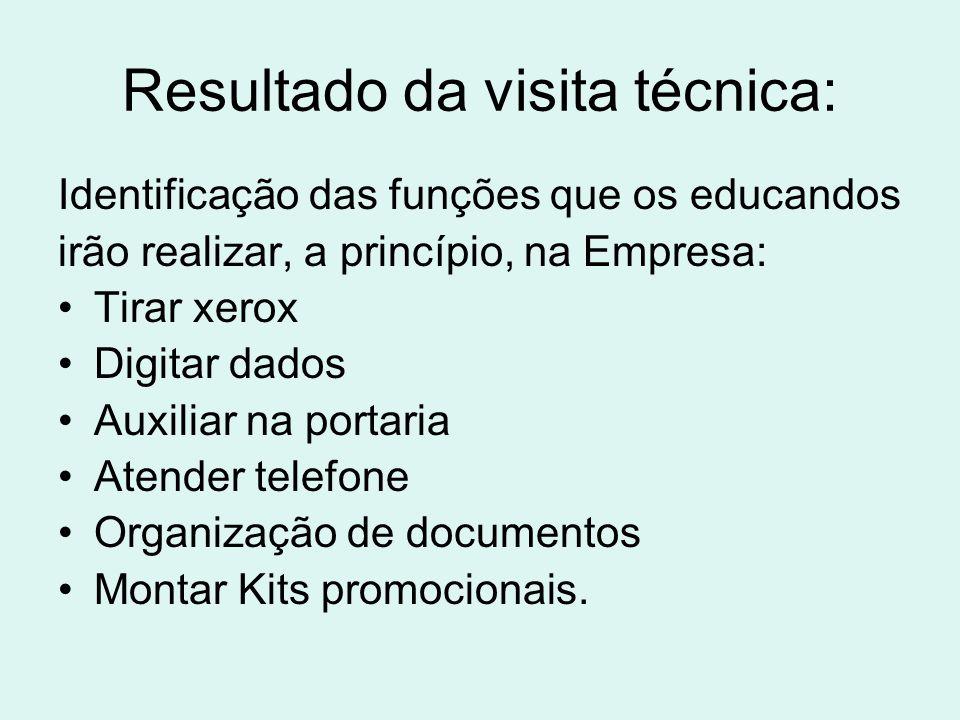 Resultado da visita técnica: Identificação das funções que os educandos irão realizar, a princípio, na Empresa: Tirar xerox Digitar dados Auxiliar na